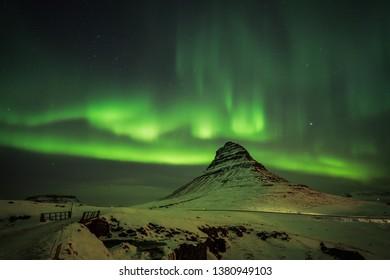 Northern lights of Icelandic night sky