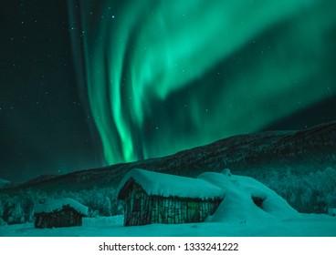 Northern lights in Kaperdalen on Senja Island, Norway