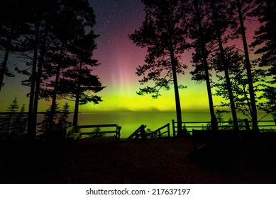 Northern Lights at Miners Beach in the Pictured Rocks National Lakeshore Lake Superior