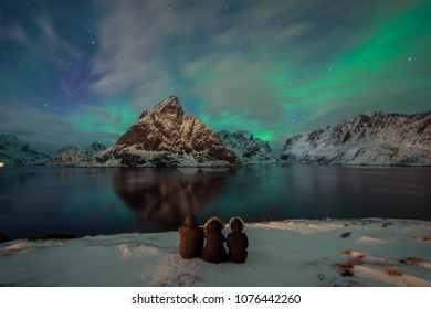 Northern Lights in the mountains of Reine, Norway.  Lofoten Islands