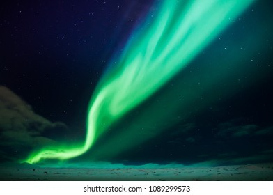Northern lights in north Iceland, winter