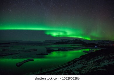 northern lights on the lagoon in Iceland