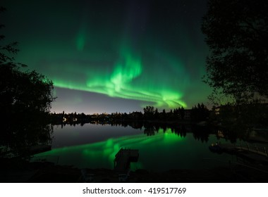 Northern Lights over a Canadian lake