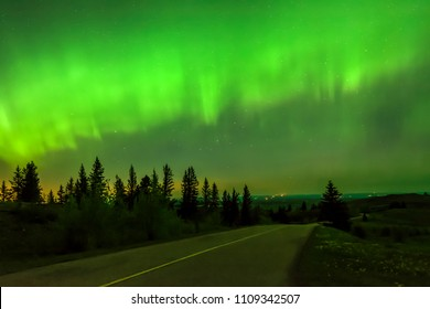 Northern lights over the Cypress Hills in Alberta, Canada
