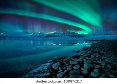 Northern lights over Jökulsárlón glacier lagoon, Iceland