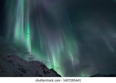 Northern lights over Hatcher Pass Alaska