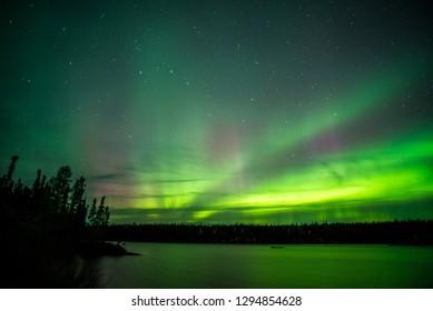 Northern Lights over a lake.