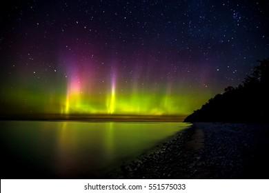 Northern Lights over Lake Michigan near Traverse City