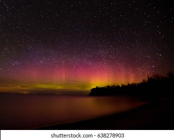 The Northern Lights over Lake Michigan in northern Michigan