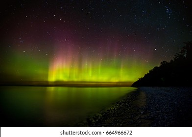 Northern Lights over Lake Michigan in northern Michigan