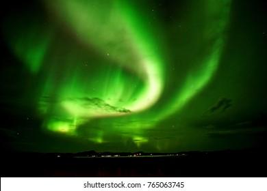 Northern lights over Lake Myvatn