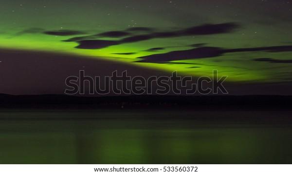 Northern Lights over Lake Onega. The Republic of Karelia