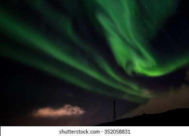 Northern lights over Nuuk city, Greenland, October 2015