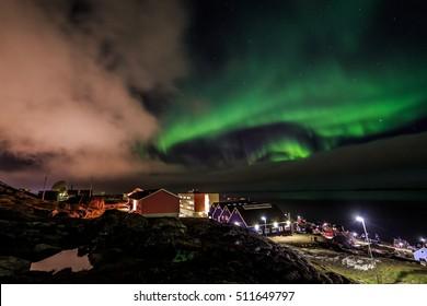 Northern lights over Nuuk streets, Nuuk city, Greenland