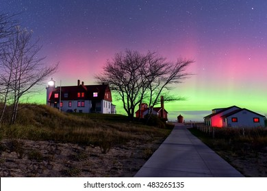 Northern lights over Point Betsie Lighthouse in northern Michigan