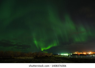 Northern Lights Over The River, In Naryan-Mar, Nenets Autonomous Area, Russia.