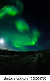 Northern Lights Over The Road, In Naryan-Mar, Nenets Autonomous Area, Russia.