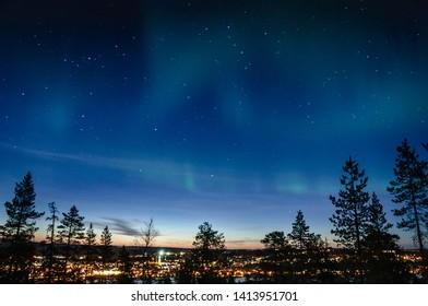 Northern lights over Rovaniemi city