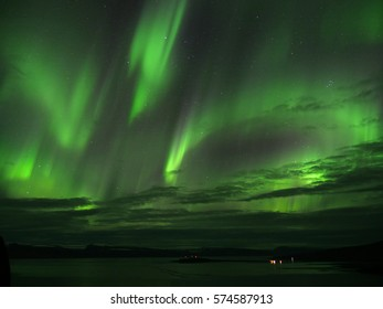 Northern lights over seydisfjoerdur in the westfjords of Iceland