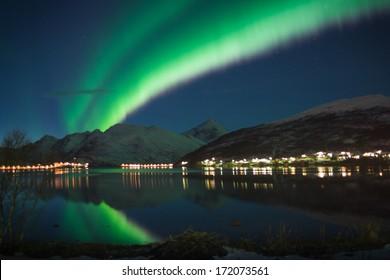 Northern Lights over small Norwegian village