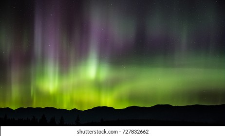 The Northern Lights over the Whitefish Mountain Range, Montana.
