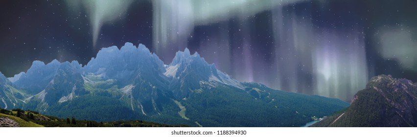 Northern lights overlaid on jagged mountain and deep valley of the Monte piana area in the  Dolomites Alps, Italy