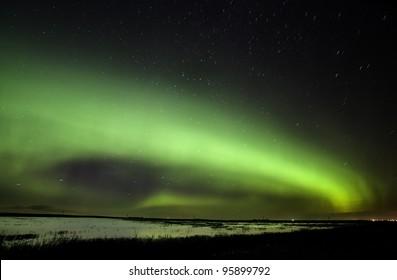 Northern Lights Saskatchewan Canada green color and shape