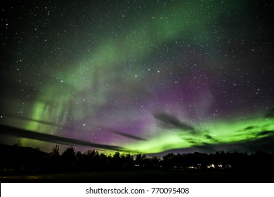 Northern Lights Shown over Akureyri Town, Iceland