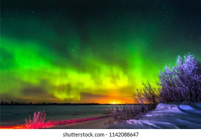 Northern lights sky horizon winter snow landscape. Aurora borealis in winter snow panorama. Northern lights winter snow sky horizon view