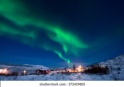 Northern Lights in the sky (Night Scene), Tromso, Norway. (also visible Ursa Major)