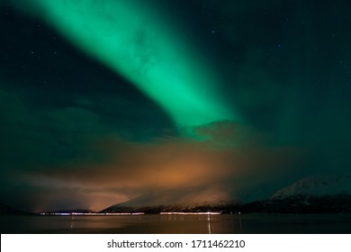 Northern lights in starry sky