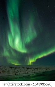 Northern lights in winter Iceland