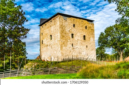 Northern medieval fortress in forest. Fortress at North. Medieval fortress