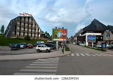 Žabljak/ Northern Montenegro - May 24 2009: Main tourist resort im the Durmitor Mountain Region