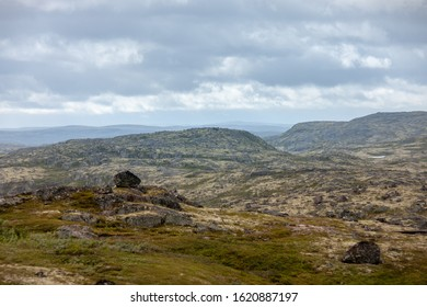 Northern mountain landscape. Mustatunturi ridge, fjelds that separates the Middle Peninsula from the mainland, Russia