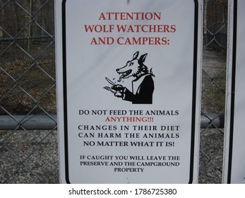 Northern NJ/USA - May 1, 2020:  A sign warning campers about wolves.