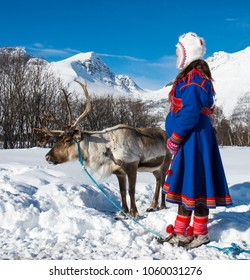 Northern Norway, a traditional dressed Sami woman .Tromso Lapland