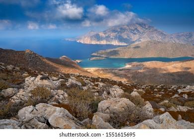 The northern part of Karpathos island,view of Saria island,Avlona-Tristomo hiking trail,Greece