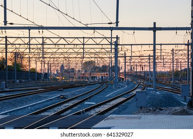 Northern rail yard of Utrecht Centraal Railway Station during sunset. Utrecht Centraal is the Netherlands largest railway station.