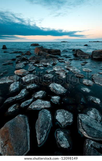 northern swedish shoreline on a cold spring morning