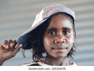 NORTHERN TERRITORY, AUSTRALIA - JUNE 10 2009 : A portrait of a young aboriginal girl in Arnhem Land in Australia