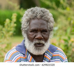 NORTHERN TERRITORY, AUSTRALIA - MAY 2 2009: A portrait of white beard Aboriginal man on a community in Northern Territory, Australia