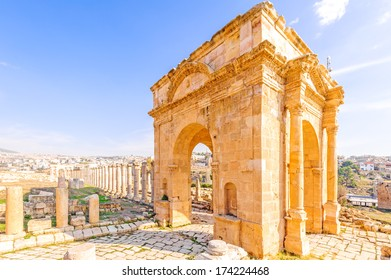 Northern Tetrapylon in the ancient Jordanian city of Gerasa, preset-day Jerash, Jordan. It is located about 48 km north of Amman.