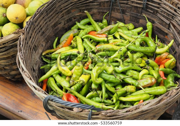 Northern Thai green chilli in basket ready for sell in farmer's market