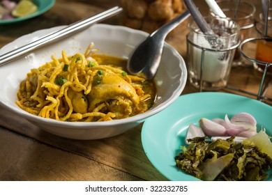 Northern Thai Noodle Curry Soup(Khao Soi)northern Thai cuisine, selective focus
