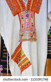 Northern Thai traditional costume.Colorful handmade fabric for gift and souvenir or dressing collecting at Chiang Mai,Thailand.