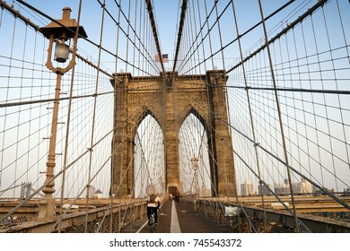 The northern tower of the Brooklyn Bridge seen from the pedestrian walkway, in New York City, United States