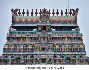 """""""Northern tower of Thillai Nataraja temple at Chidambaram, filled with deities and frescos- An example for traditional architectural style (Barrel-vaulted) of the South Indian temple towers"""""""