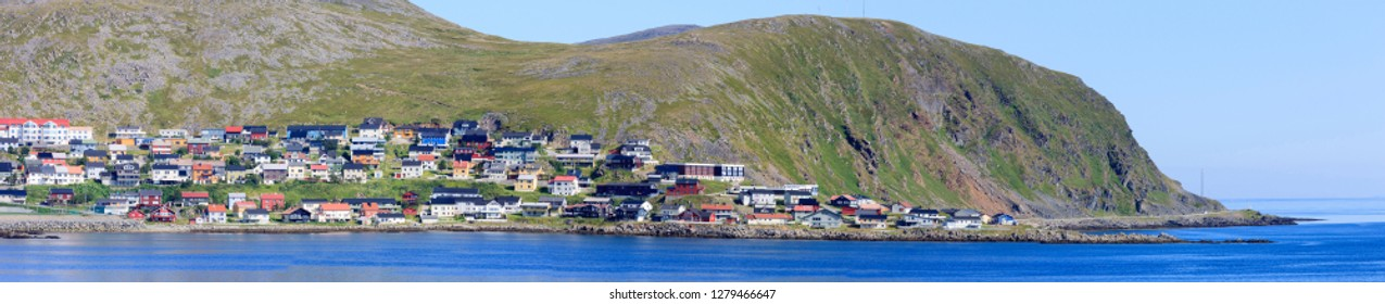 Northernmost city of Norway. Panorama. North Cape. Honningsvag.