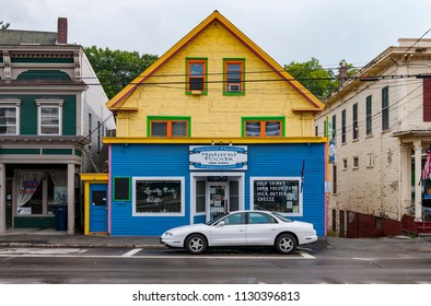 NORTHFIELD, MAINE - JULY 31: Main street with old New England style buildings on July 31, 2014 in Northfield, Maine, USA